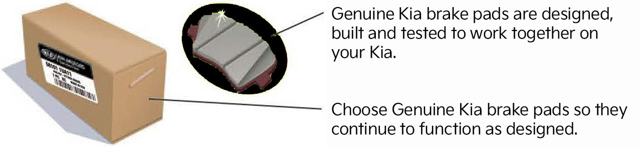 Genuine Kia brake pads are designed, built, and tested to work together on your Kia. Choose Genuine Kia brake pads so they continue to function as designed.